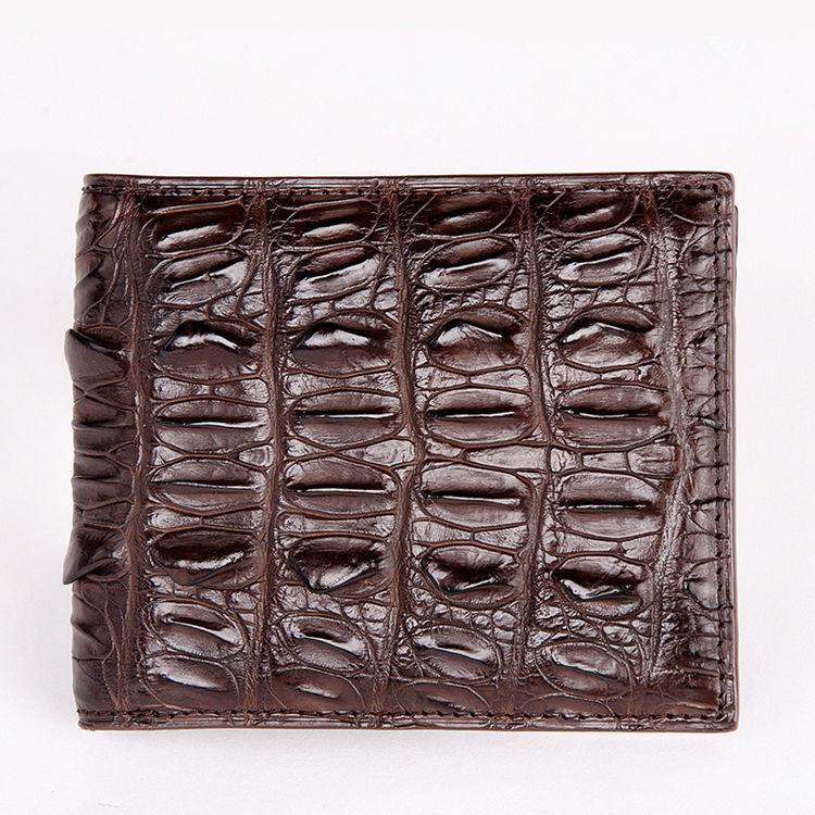 Crocodile Tail Skin Wallet, Vintage Crocodile Bifold Wallet-Dark Brown