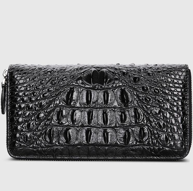 Crocodile Zip Around Long Wallet for Men, Travel Card Holder Phone Wallet-Back
