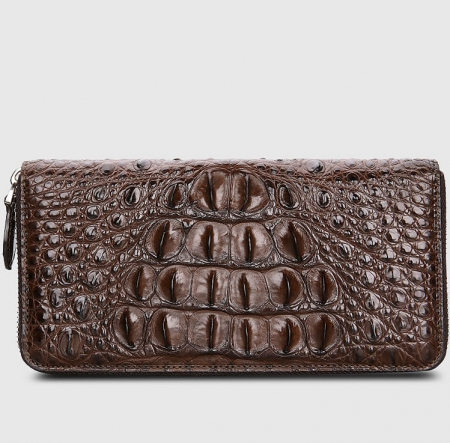 Crocodile Zip Around Long Wallet for Men, Travel Card Holder Phone Wallet-Brown-Back