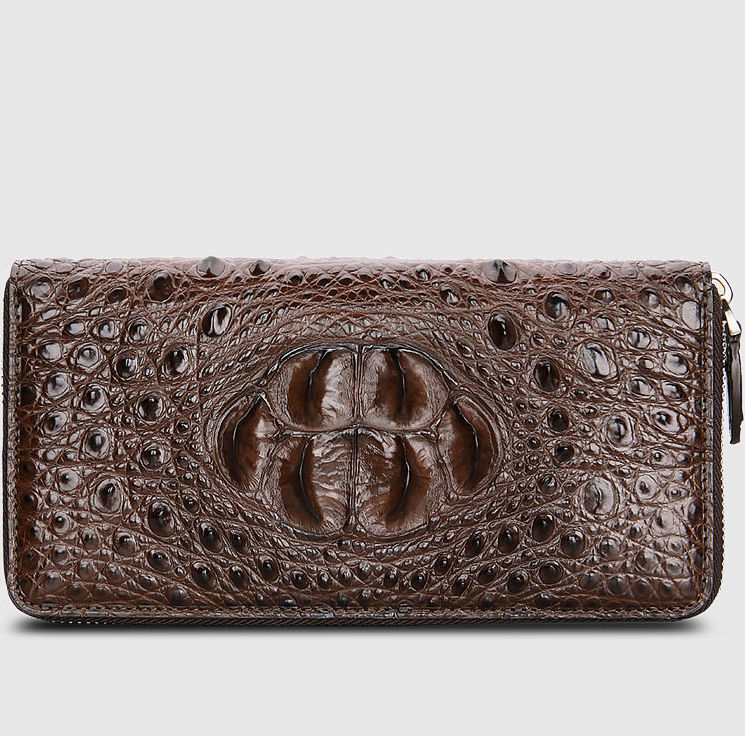 Crocodile Zip Around Long Wallet for Men, Travel Card Holder Phone Wallet-Brown-Front