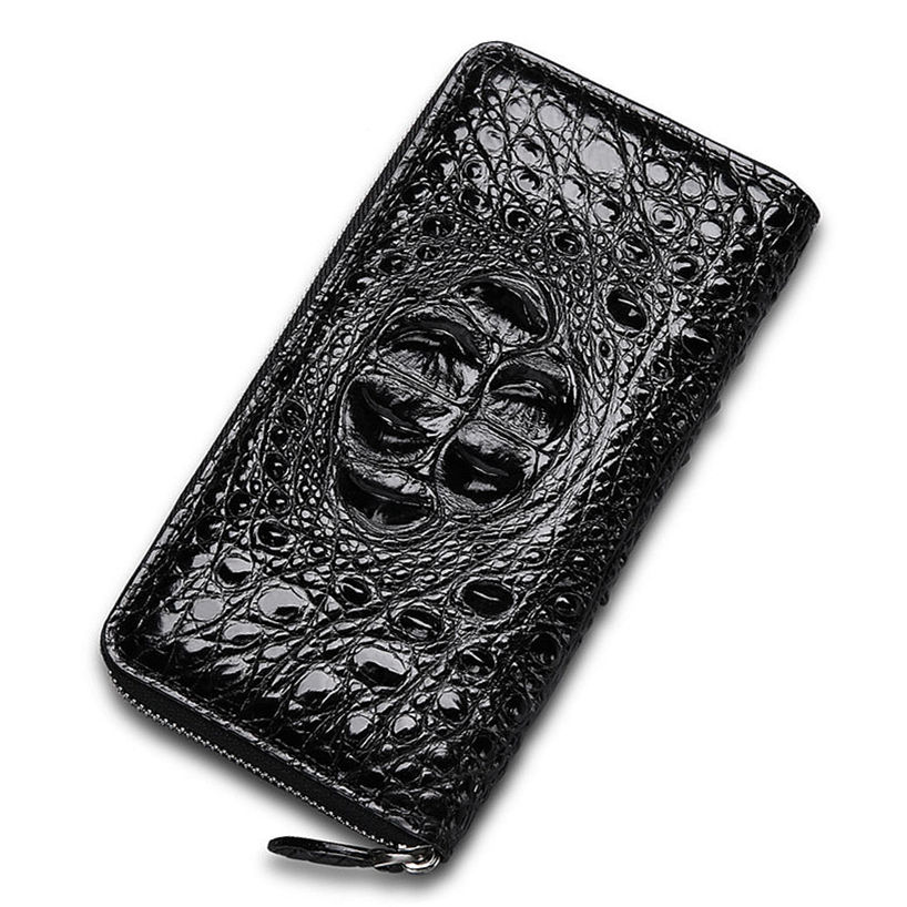 Crocodile Zip Around Long Wallet for Men, Travel Card Holder Phone Wallet
