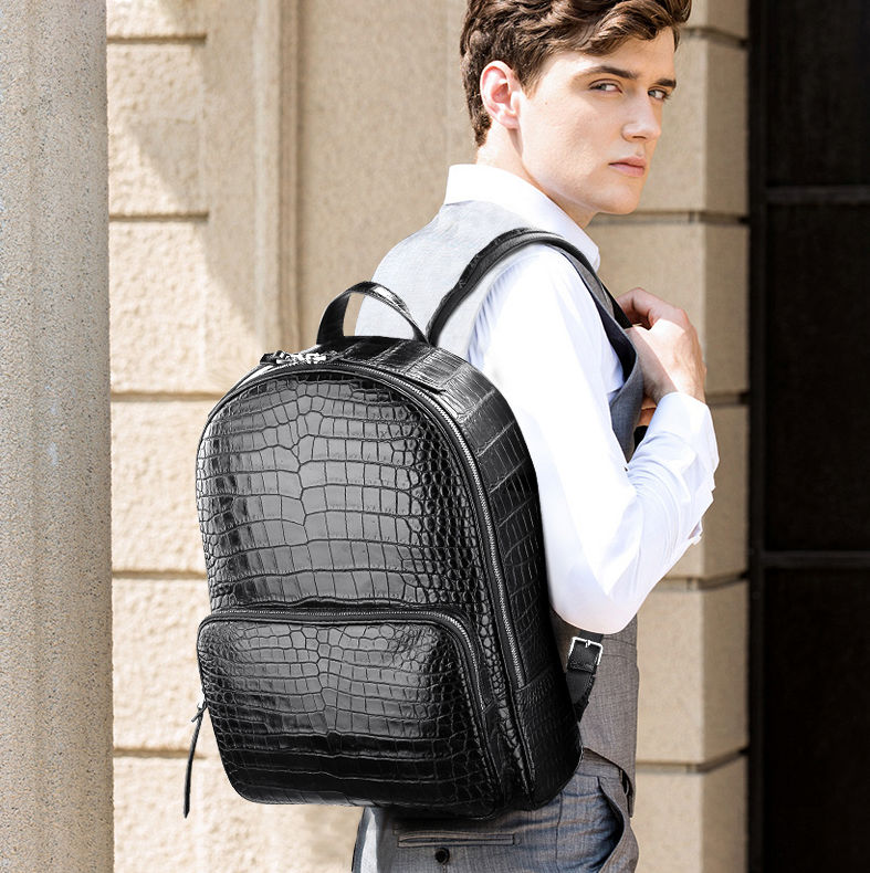 Genuine Alligator Skin Backpack, Luxury Backpack for Men-Exhibition