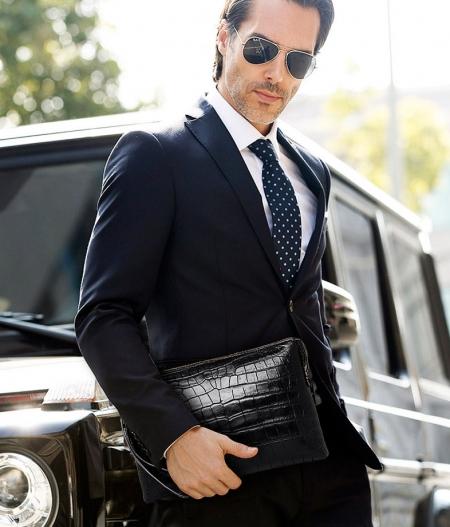 Genuine Alligator Skin Big Clutch Bag Wristlet Handbag Organizer Wallet for Business Men