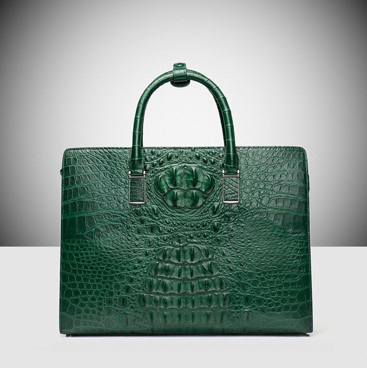 Genuine Alligator Skin Business Bag-Green