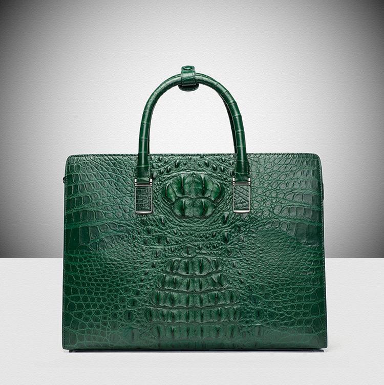 Genuine Alligator Skin Business Bag-Green