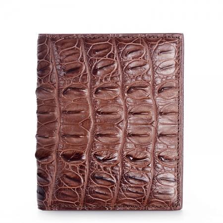 Genuine Crocodile Tail Skin Wallet, Unique Crocodile Leather Wallet for Men-Brown
