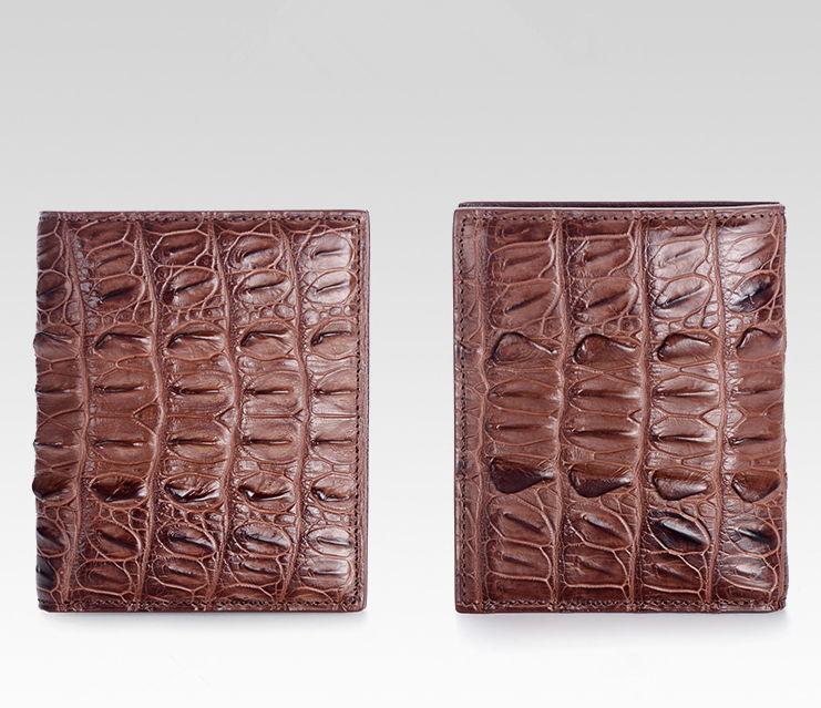 Genuine Crocodile Tail Skin Wallet, Unique Crocodile Leather Wallet for Men-Brown-Details