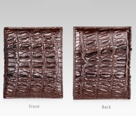 Genuine Crocodile Tail Skin Wallet, Unique Crocodile Leather Wallet for Men-Dark Brown-Details