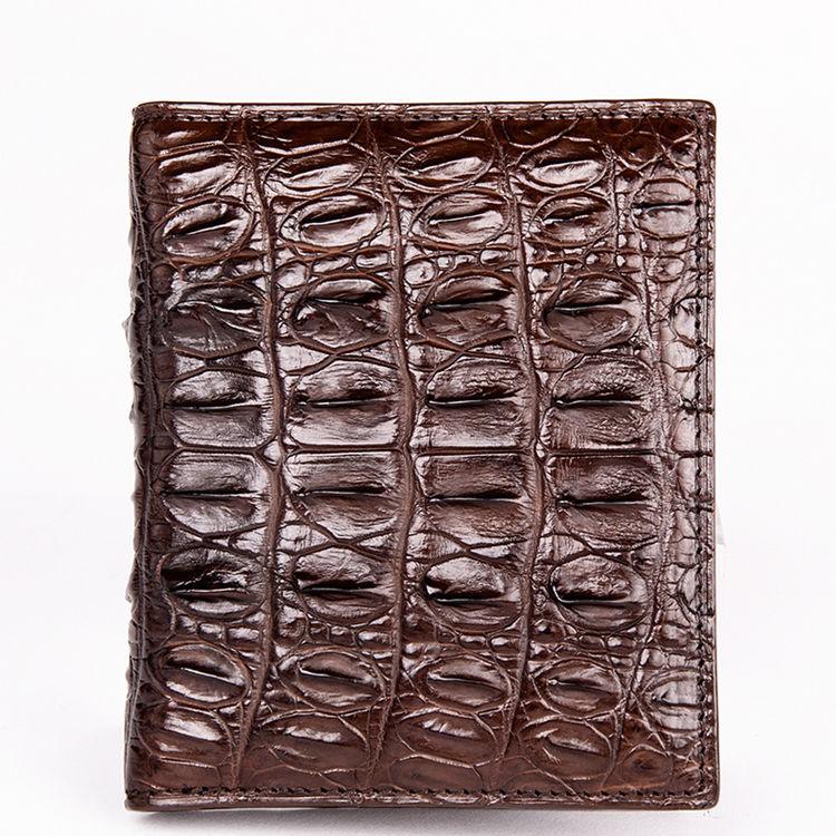 Genuine Crocodile Tail Skin Wallet, Unique Crocodile Leather Wallet for Men-Dark Brown