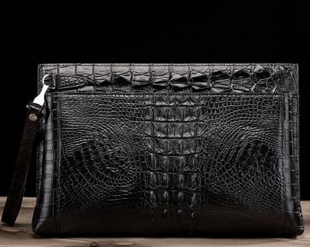 Handmade Crocodile Skin Clutch Wallet Business Portfolio Briefcase Envelope Clutch Bag-Black-Back