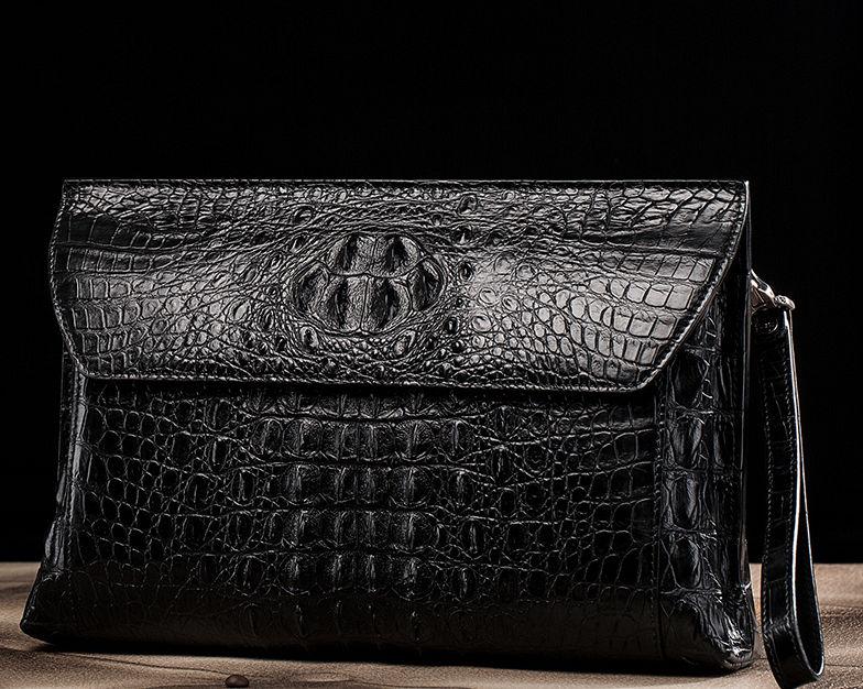 Handmade Crocodile Skin Clutch Wallet Business Portfolio Briefcase Envelope Clutch Bag-Black-Exhibition