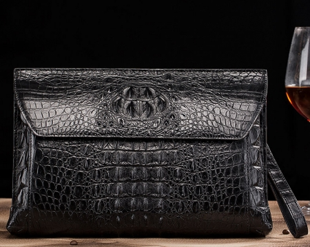 Handmade Crocodile Skin Clutch Wallet Business Portfolio Briefcase Envelope Clutch Bag-Black-Front