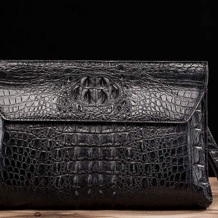 Handmade Crocodile Skin Clutch Wallet Business Portfolio Briefcase Envelope Clutch Bag-Black-Front