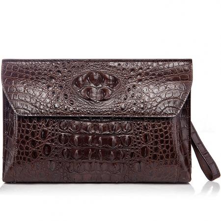 Handmade Crocodile Skin Clutch Wallet Business Portfolio Briefcase Envelope Clutch Bag-Brown