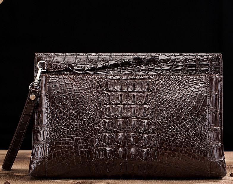 Handmade Crocodile Skin Clutch Wallet Business Portfolio Briefcase Envelope Clutch Bag-Brown-Back