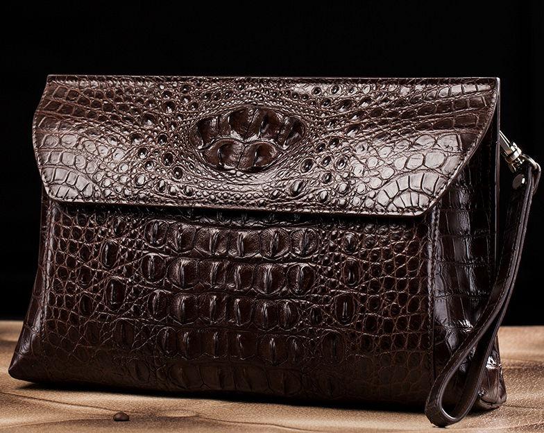 Handmade Crocodile Skin Clutch Wallet Business Portfolio Briefcase Envelope Clutch Bag-Brown-Exhibition