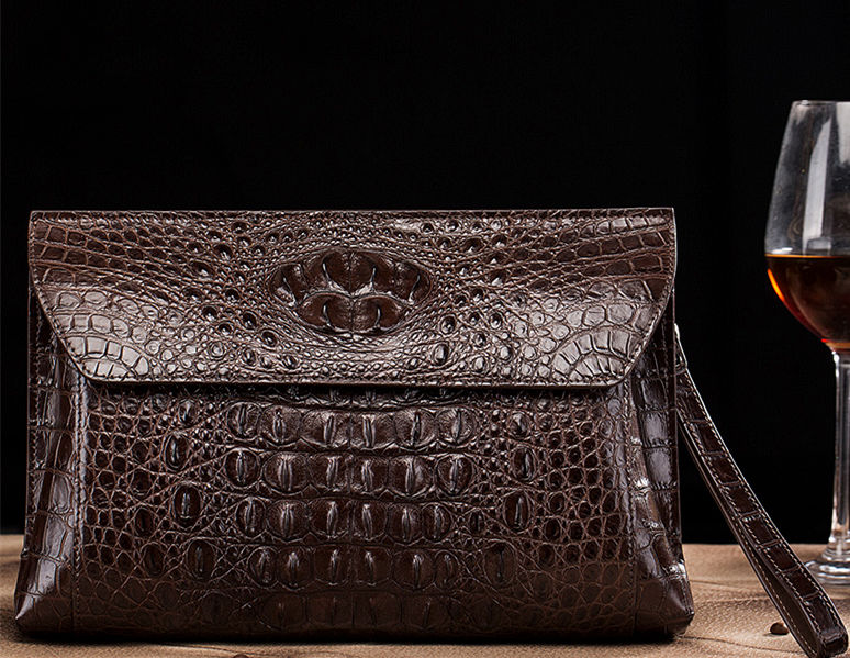 Handmade Crocodile Skin Clutch Wallet Business Portfolio Briefcase Envelope Clutch Bag-Brown-Front