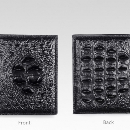 Handmade Genuine Crocodile Leather Wallet-Black-Details