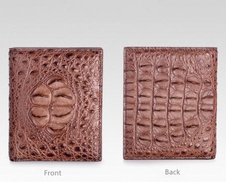 Handmade Genuine Crocodile Leather Wallet-Brown-Details