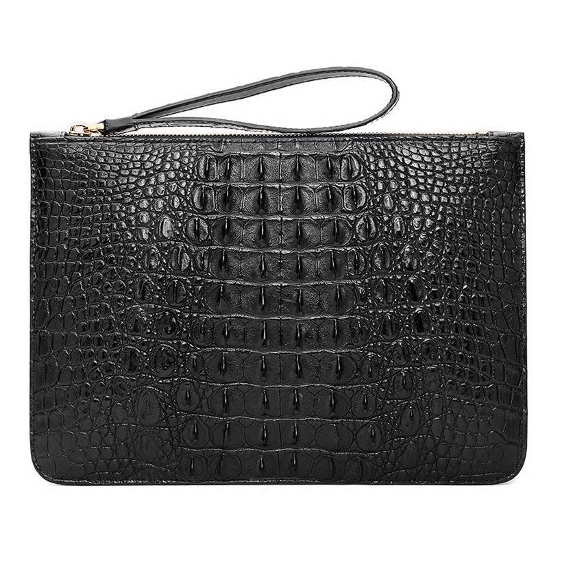 Large Stylish Crocodile Clutch Wallet, Envelope Flap Briefcase Purse Clutch Bag-Back