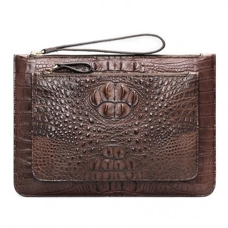 Large Stylish Crocodile Clutch Wallet, Envelope Flap Briefcase Purse Clutch Bag-Brown