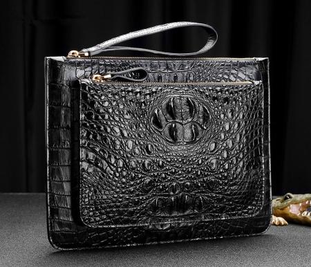 Large Stylish Crocodile Clutch Wallet, Envelope Flap Briefcase Purse Clutch Bag-Exhibition