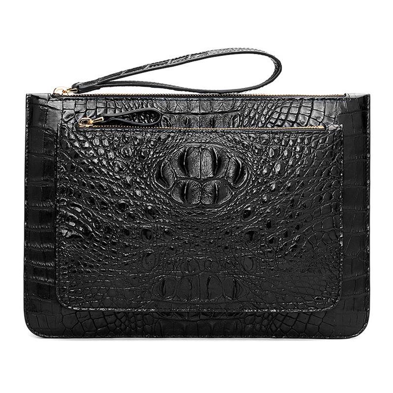 Large Stylish Crocodile Clutch Wallet, Envelope Flap Briefcase Purse Clutch Bag