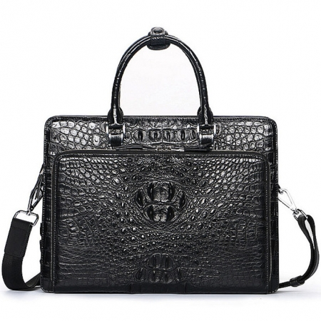Luxury Crocodile Business Briefcase, Casual Crocodile Briefcase for Men