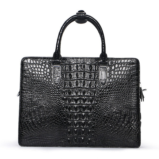Luxury Crocodile Business Briefcase, Casual Crocodile Briefcase for Men-Back