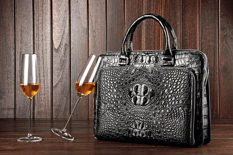 Luxury Crocodile Business Briefcase, Casual Crocodile Briefcase for Men-Black-Exhibition