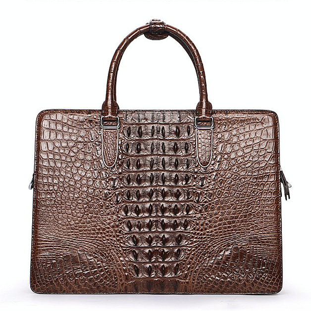 Luxury Crocodile Business Briefcase, Casual Crocodile Briefcase for Men-Brown-Back