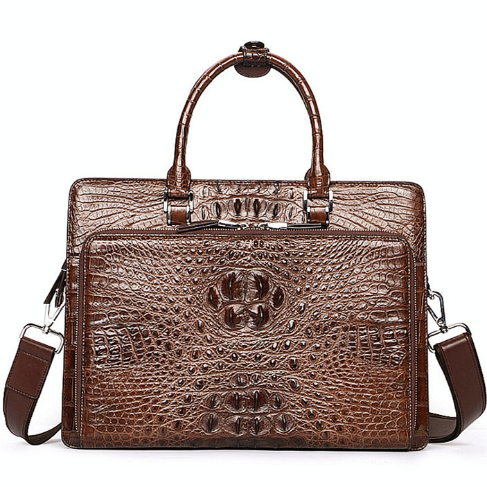 Luxury Crocodile Business Briefcase, Casual Crocodile Briefcase for Men-Brown