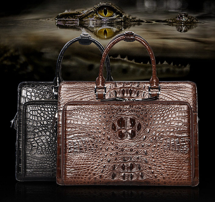 Luxury Crocodile Business Briefcase, Casual Crocodile Briefcase for Men-Exhibition