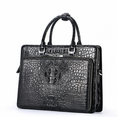 Luxury Crocodile Business Briefcase, Casual Crocodile Briefcase for Men-Front