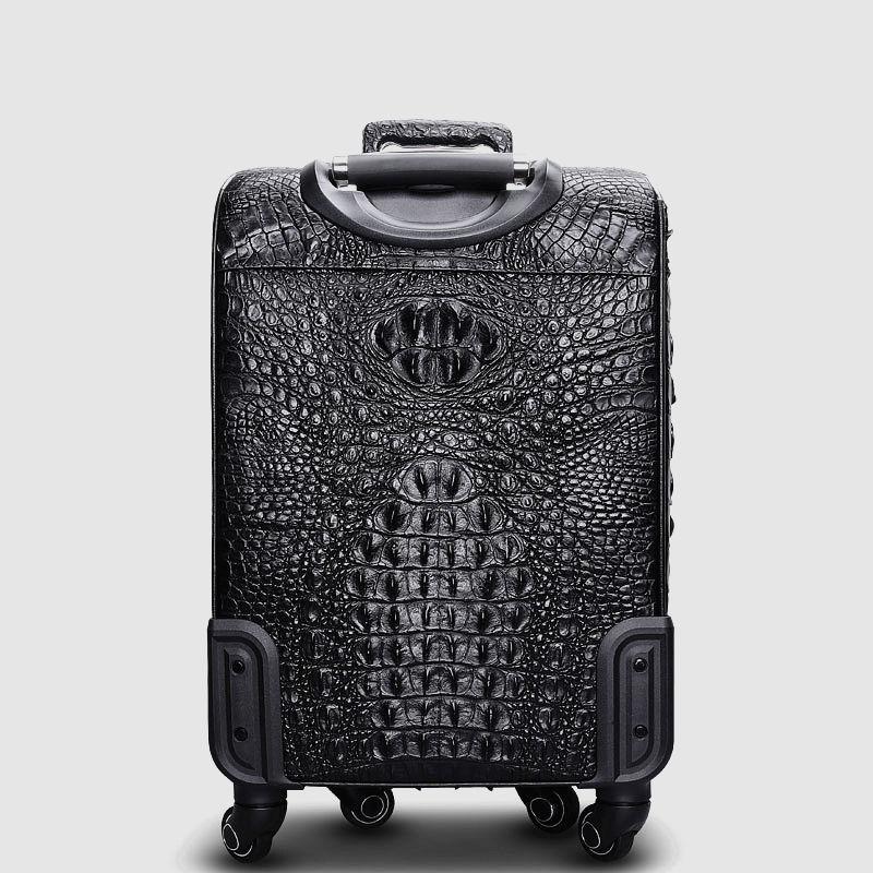 Luxury Genuine Crocodile Leather Luggage Bag Business Trolley Travel Bag-Back