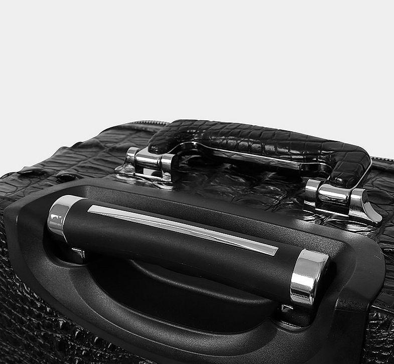 Luxury Genuine Crocodile Leather Luggage Bag Business Trolley Travel Bag-Handle