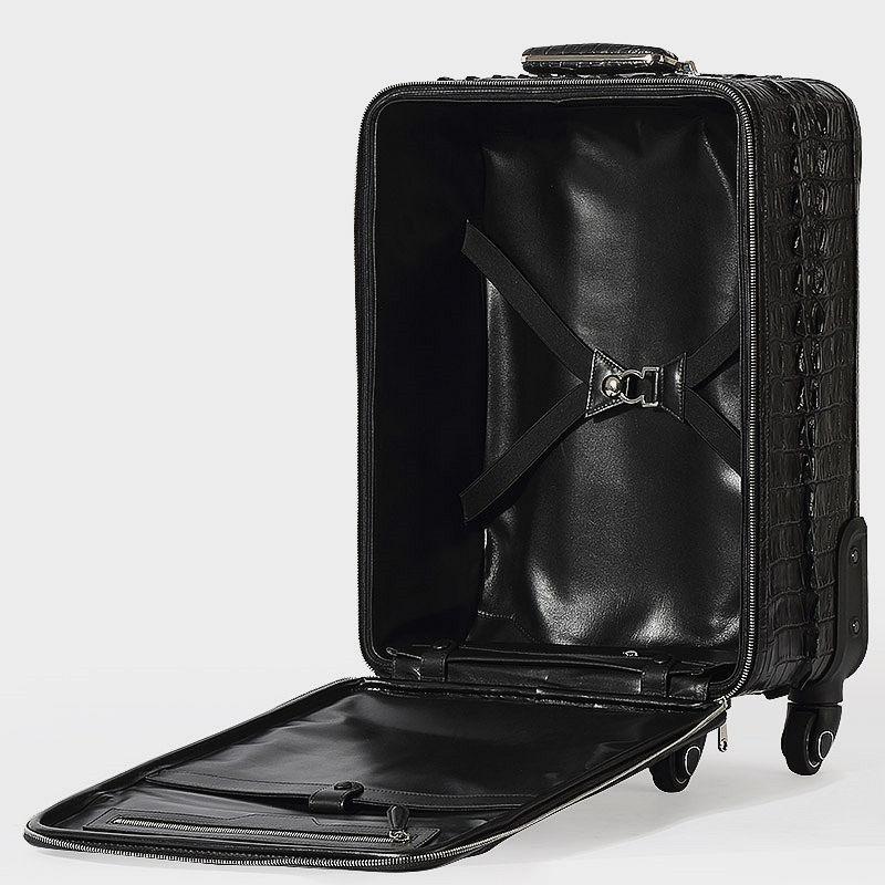 Luxury Genuine Crocodile Leather Luggage Bag Business Trolley Travel Bag-Inside