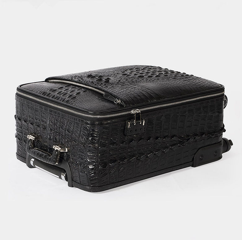 Luxury Genuine Crocodile Leather Luggage Bag Business Trolley Travel Bag-Lay