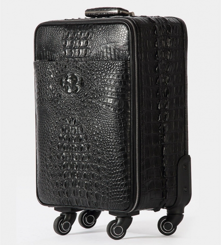 Luxury Genuine Crocodile Leather Luggage Bag Business Trolley Travel Bag-Side