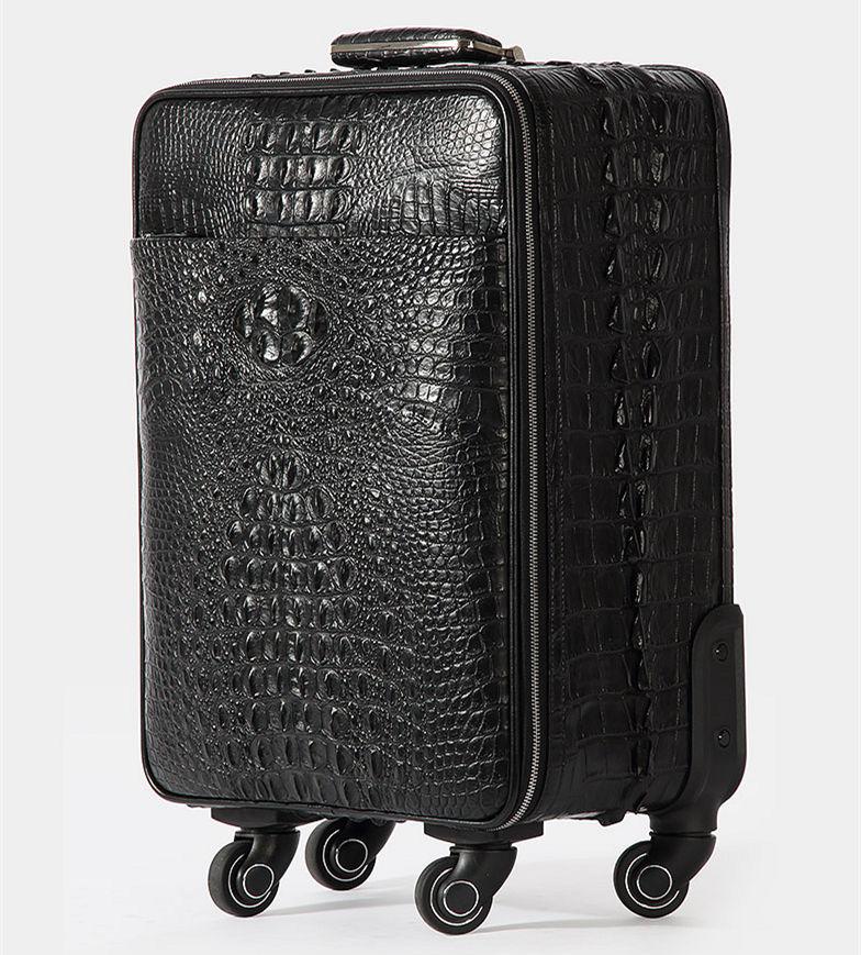 Luxury Genuine Crocodile Leather Luggage Bag Business Trolley Travel Bag-Side