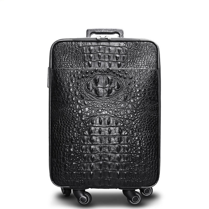 Luxury Genuine Crocodile Leather Luggage Bag Business Trolley Travel Bag