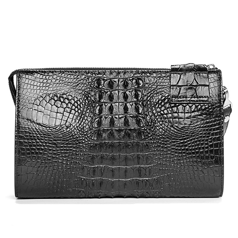 Men's Business Crocodile Clutch Bag, Stylish Crocodile Clutch Wallet-Back
