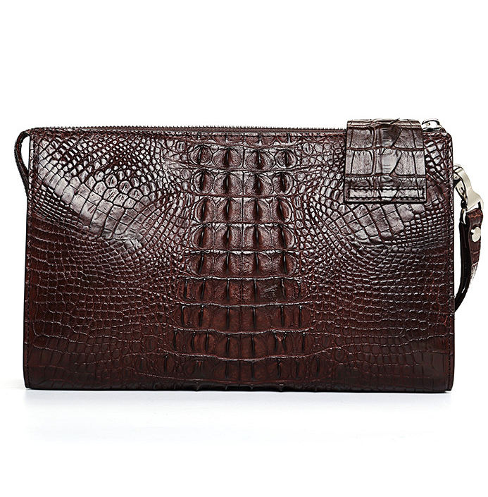 Men's Business Crocodile Clutch Bag, Stylish Crocodile Clutch Wallet-Brown-Back