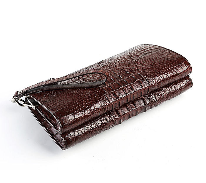 Men's Business Crocodile Clutch Bag, Stylish Crocodile Clutch Wallet-Brown-Bottom
