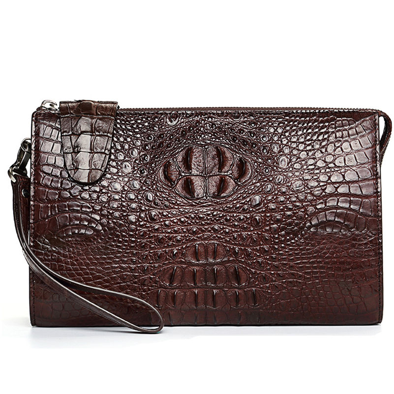 Men's Business Crocodile Clutch Bag, Stylish Crocodile Clutch Wallet-Brown