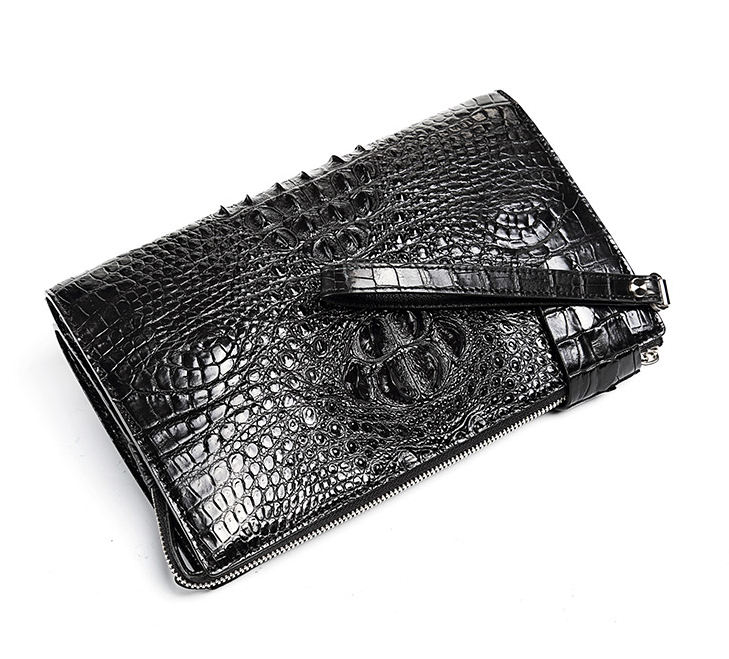 Men's Business Crocodile Clutch Bag, Stylish Crocodile Clutch Wallet-Detail