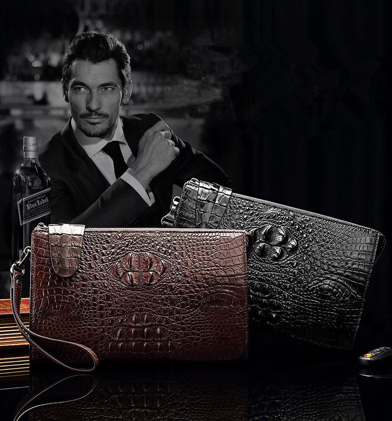 Men's Business Crocodile Clutch Bag, Stylish Crocodile Clutch Wallet-Exhibition