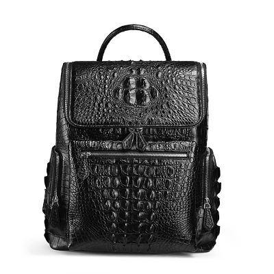 Men's Genuine Crocodile Skin Backpack, Casual Travel Bag Extra Capacity Casual Daypack