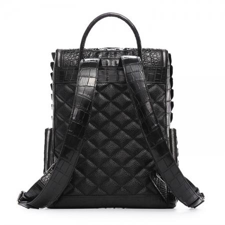 Men's Genuine Crocodile Skin Backpack, Casual Travel Bag Extra Capacity Casual Daypacks-Back