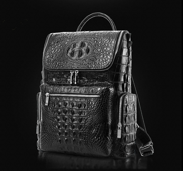 Men's Genuine Crocodile Skin Backpack, Casual Travel Bag Extra Capacity Casual Daypacks-Exhibition